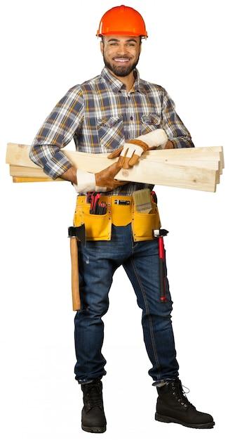 Bauarbeiter getrennt auf weiß Premium Fotos
