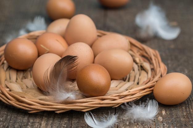 Bauernhof frische bio-hühnereien Premium Fotos