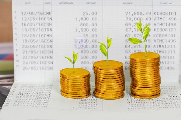 Baum, der auf münzenstapel, konzept des investitionswachstums wächst. Premium Fotos