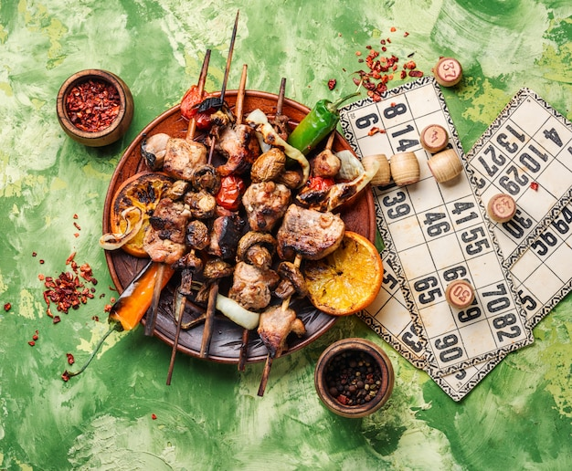 Bbq picknick und lotto Premium Fotos