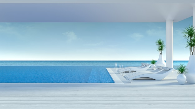 Beach lounge, liegestühle auf der sonnenterrasse und privater pool in der luxusvilla / 3d-rendering Premium Fotos