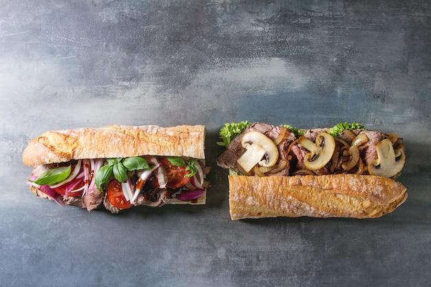 Beef baguette sandwich Premium Fotos