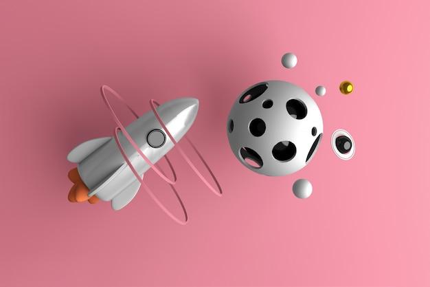 Begriffsbild eines raketenfliegens im raum Premium Fotos