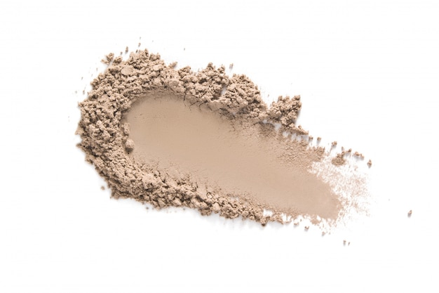 Beige gesicht make-up puder swatch isoliert auf weiß Premium Fotos