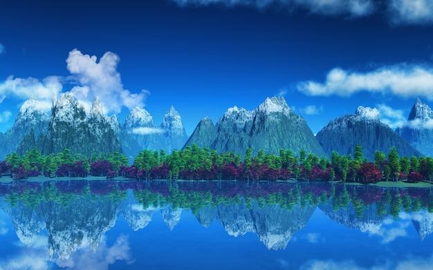 Berge mit schnee und bäume Kostenlose Fotos