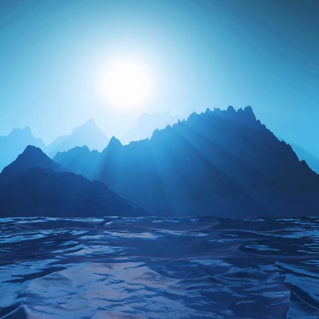 Berglandschaft 3d gegen ozean Kostenlose Fotos