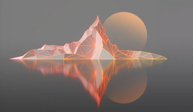 Bergspitzen mit einer glühenden hintergrundbeleuchteten illustration 3d Premium Fotos