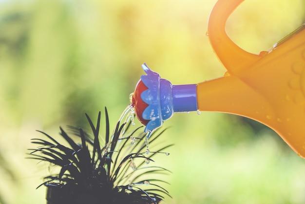 Bewässerungsanlage mit bunter gießkanne auf topf im garten Premium Fotos