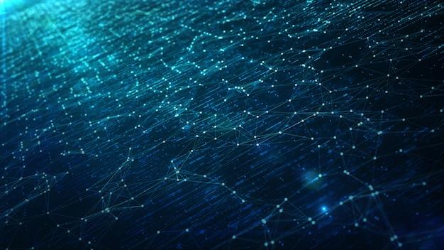 Bewegung des digitalen datenflusses. übertragung von big data. übertragung und speicherung von datensätzen. Premium Fotos