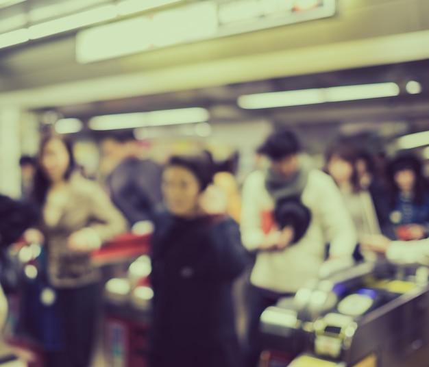 Bewegungsunschärfe menschen in rush hour in osaka bahnhof, jap Kostenlose Fotos