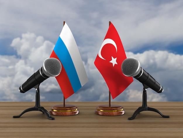 Beziehung zwischen der türkei und russland. 3d-rendering Premium Fotos