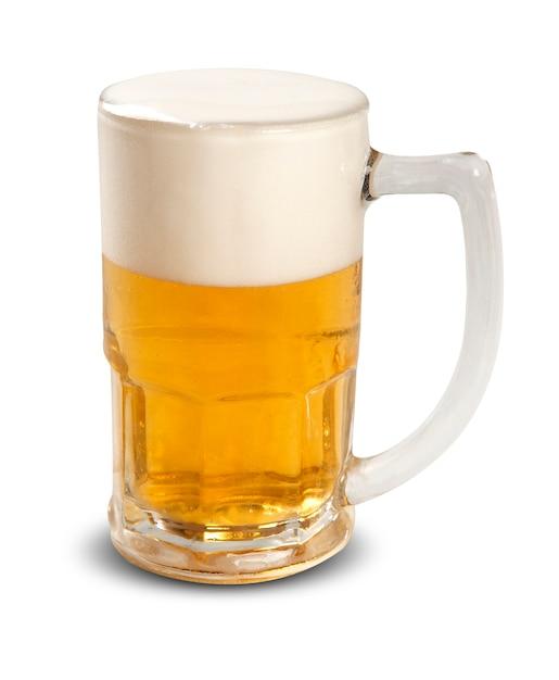 Bierkrug mit schaum auf leerraum. Premium Fotos