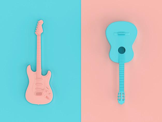 Bild 3d übertragen in der flachen lage der art von zwei e-gitarren Premium Fotos