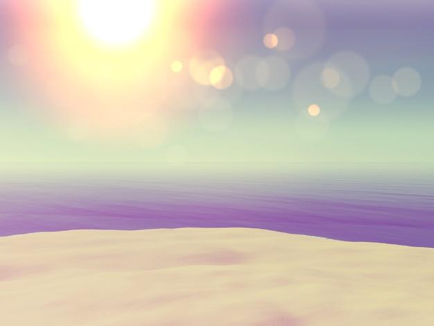 Bild der weinlese 3d art der sand- und ozeanlandschaft Kostenlose Fotos