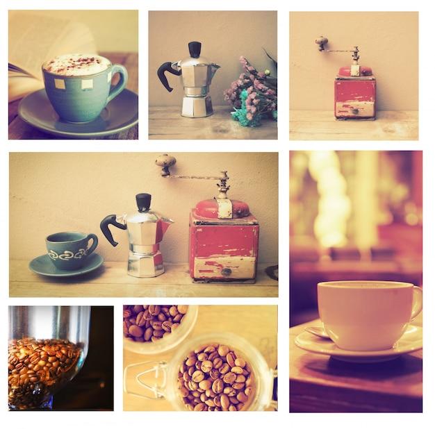 Bilder von kaffeetassen in einem kasten platziert Kostenlose Fotos
