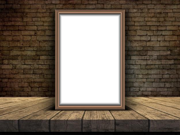 Bilderrahmen 3d, der auf einer tabelle gegen eine backsteinmauer sich lehnt Kostenlose Fotos