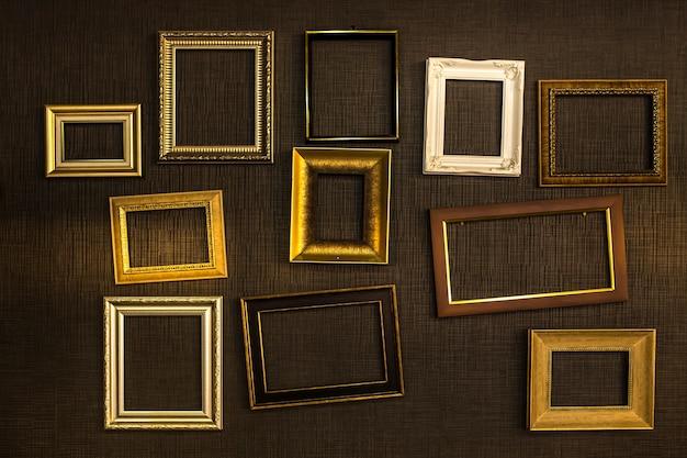 Bilderrahmen vektor. fotokunstgalerie auf weinlesewand. Premium Fotos