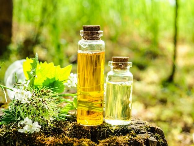 Bio-bio-alternativmedizin, kräutermedizin, flaschen mit gesundem ätherischen öl oder infusionen und trockenen heilkräutern. Premium Fotos