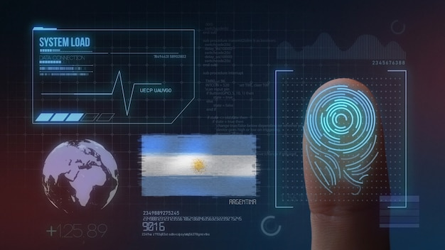 Biometrisches fingerabdruckscanner-identifikationssystem. argentinische nationalität Premium Fotos