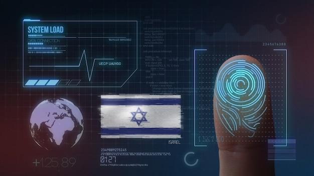 Biometrisches fingerabdruckscanner-identifikationssystem. israelische nationalität Premium Fotos