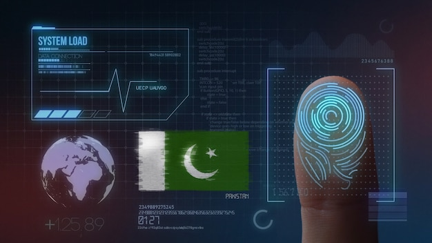 Biometrisches fingerabdruckscanner-identifikationssystem. pakistanische nationalität Premium Fotos