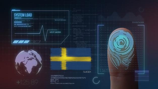 Biometrisches fingerabdruckscanner-identifikationssystem. schweden nationalität Premium Fotos