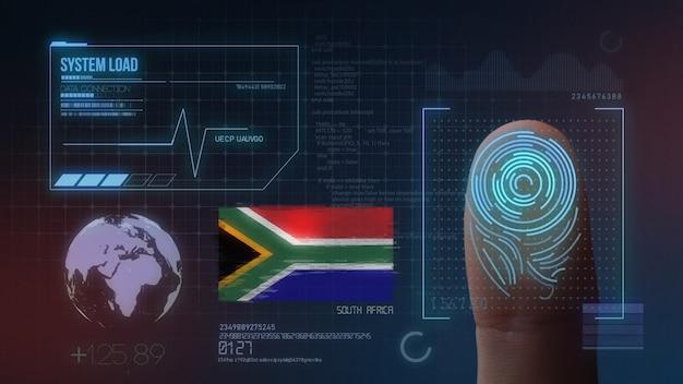 Biometrisches fingerabdruckscanner-identifikationssystem. südafrika nationalität Premium Fotos