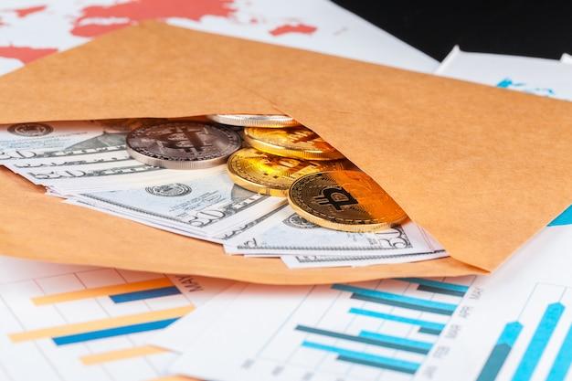 Bitcoin, chart und us-dollar. finanzhandel Premium Fotos