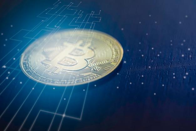 Bitcoin digitales geld mit grafik der internet-netzwerkverbindung, konzept der digitalen kryptogeldstörung Premium Fotos