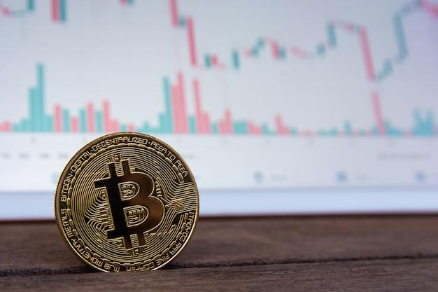 Bitcoin goldmünze und candlestick-chart Premium Fotos