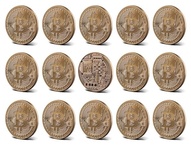 Bitcoin goldmünzen, sammlung. digitales geldkonzept. Premium Fotos