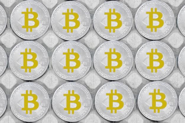 Bitcoin hintergrund. bitcoins und neues virtuelles geldkonzept. bitcoin ist eine neue währung. Premium Fotos