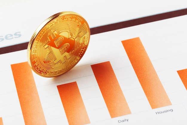 Bitcoin-kryptowährungsdiagramm Premium Fotos