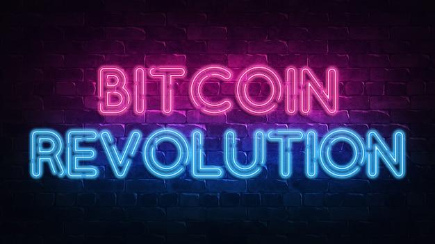 Bitcoin revolution neon schild Premium Fotos