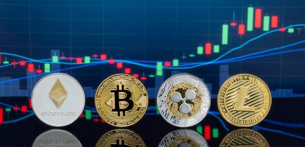 Bitcoin und kryptowährung, die konzept investieren. Premium Fotos