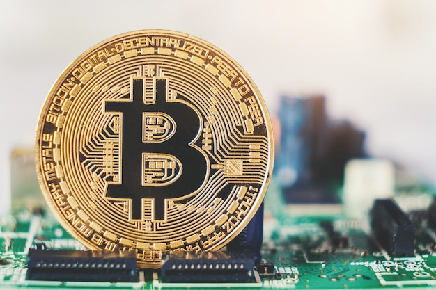 Bitcoins neues virtuelles geld für circuits Premium Fotos