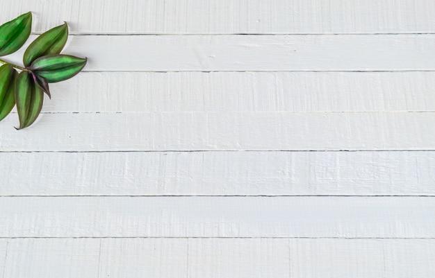 Blätter auf einem hölzernen hintergrund Premium Fotos