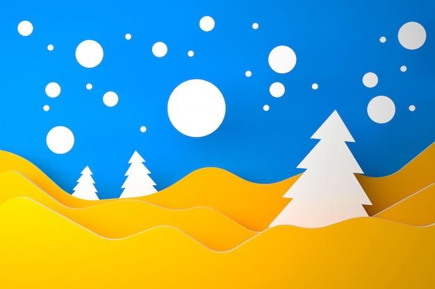 Blau-gelb-weißes materielles konzept der frohen weihnachten und des guten rutsch ins neue jahr - illustration 3d Premium Fotos
