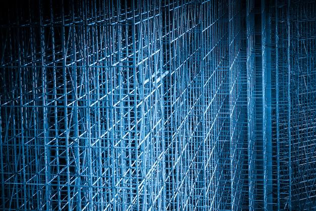 Blaue artbaustelle, gebäudestrukturrahmen Premium Fotos