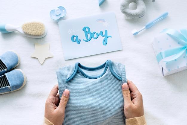 Blaue babydusche Premium Fotos
