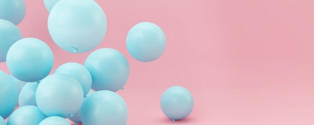 Blaue ballone auf pastellrosahintergrund. Premium Fotos