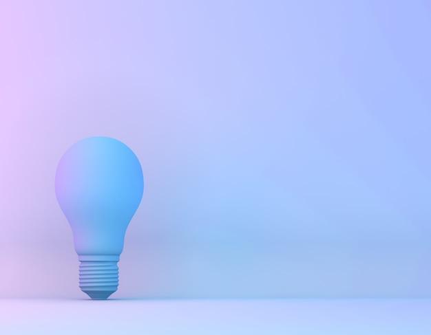 Blaue birne im purpurroten und blauen ganz eigenhändig geschriebenen farbhintergrund der vibrierenden mutigen steigung. minimaler konzeptkunst-surrealismus. Premium Fotos
