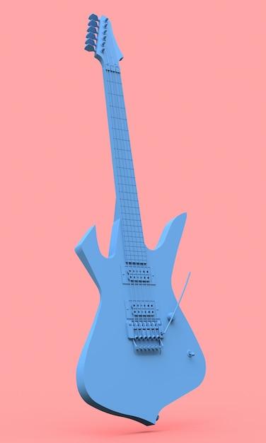Blaue e-gitarre im stil des minimal auf einem rosa hintergrund Premium Fotos