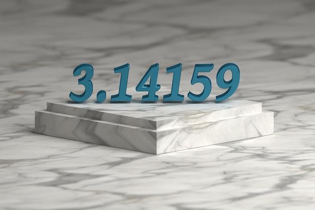 Blaue glänzende metallische pu-zahlstellen über marmorsockelpodium. mathematik-konzept. Premium Fotos