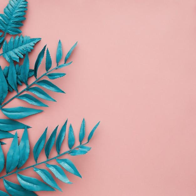Blaue grenze verlässt auf rosa hintergrund mit copyspace Kostenlose Fotos