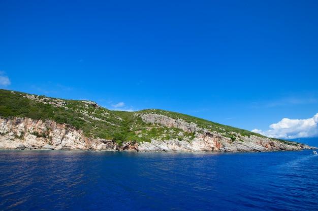 Blaue höhlen auf der insel zakynthos Premium Fotos