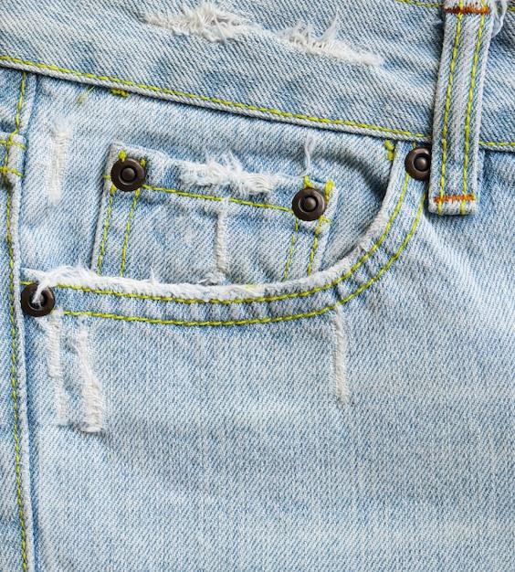 Blaue jeans jeans taschen textur hintergrund nahaufnahme Premium Fotos