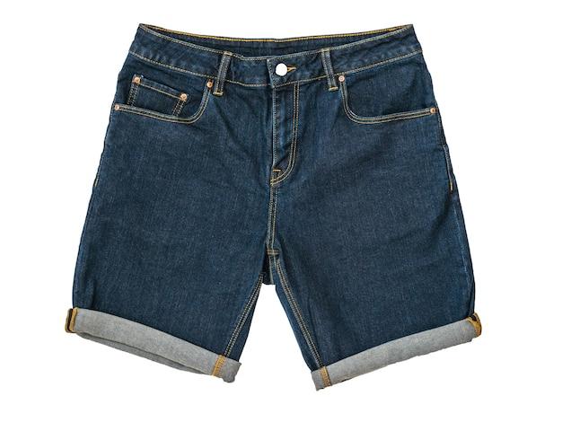 Blaue jeansshorts mit button-down isoliert Premium Fotos