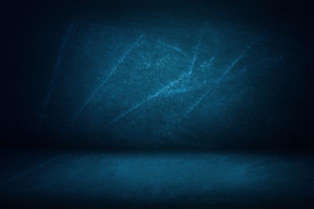 Blaue studiowand des tafel- und ausstellungsraumhintergrundes für darstellungsprodukt Premium Fotos