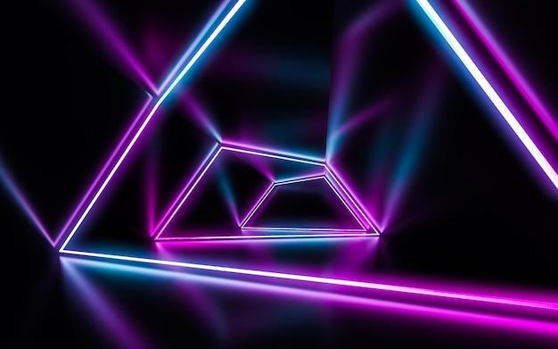 Blaue und purpurrote neonröhrenlichter der futuristischen science fiction, die mit reflexionen glühen, leeren raum. Premium Fotos